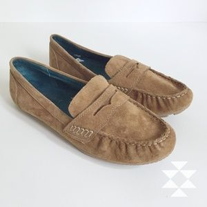 Cynthia Rowley Tan Suede Driving Loafer Flat Shoes